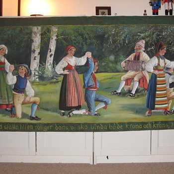 Swedish folk art banner paintings on canvas