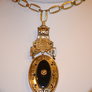 Antique Gold Necklace Pendant with Black Inlay - Fine Jewelry