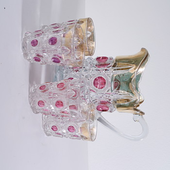 Vintage Glass Pitcher in Gold and Pink With Matching Glasses - Glassware