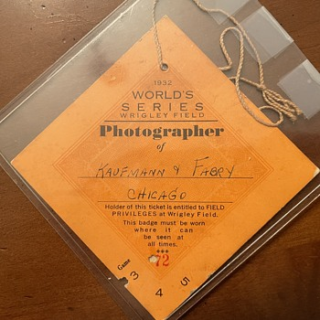 1932 World Series Game 3 (Babe Ruth's Called Shot) Photographer Field Privileges Badge - Baseball
