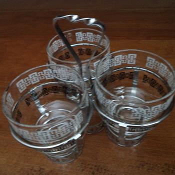 Vintage Triple Glass Condiment Server - Glassware