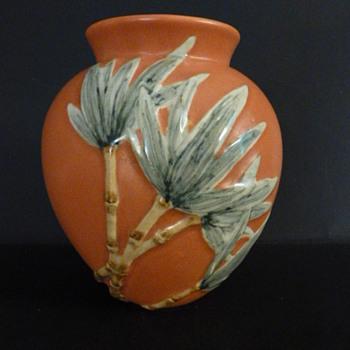 Orange pottery vase with bamboo decoration - Pottery
