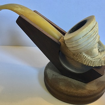 Antique Turkish Meerschaum Baltic Amber Pipe - Tobacciana