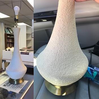 Tall Stucco table lamp with brass base. - Lamps