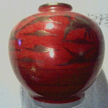 "Japanese "" Kutani "" Porcelain Jar / "" Eiraku"" Red Ground with Gilt Cranes/ Circa Meiji Period 1868-1912 - Asian"