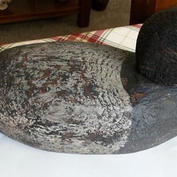 antique carved duck decoy  - Folk Art