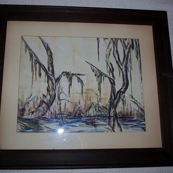 "Vintage Watercolor Titled ""Swamp"" by Dick Sanford Signed Origianl Artwork"