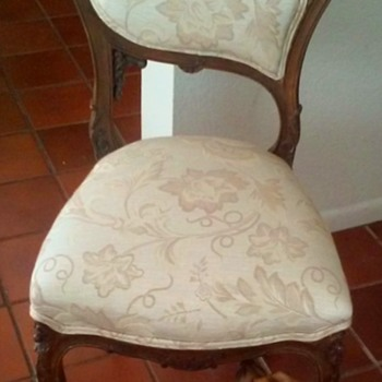 Antique Ornately Carved Wood Petite Chair