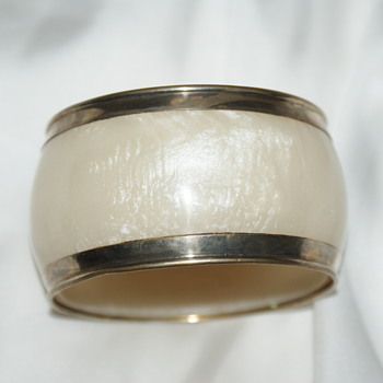 Marbled Lucite (?) with Metal Edge - Costume Jewelry