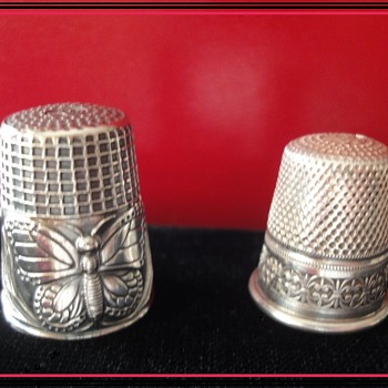 Sterling Silver Thimbels; one Art Nouveau  - Sewing