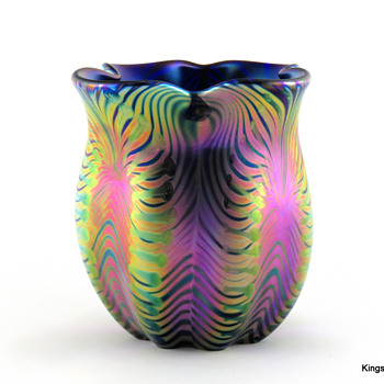 David Lotton Zipper Vase made in 1992 - Art Glass