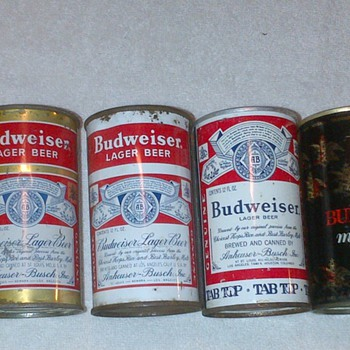 1936 to now Budweiser , Budwesier Mat Liquor and Bud Light Cans - Breweriana