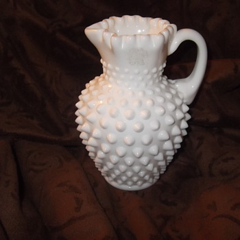 Fenton Milk glass hobnail pitcher - Glassware