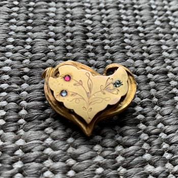 Victorian rolled gold heart brooch - Victorian Era