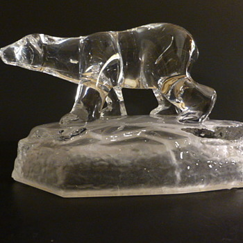 Cristal D'Arques glass crystal polar bear on iceberg - Art Glass