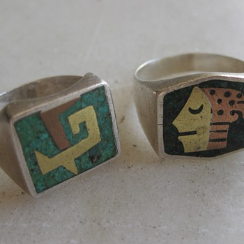 Mixed metal Mexico sterling rings circa 1950's or 60's - Fine Jewelry