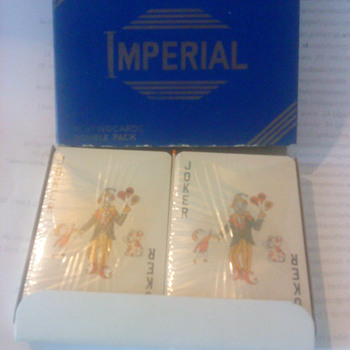 twin pack of unopened Imperial playing cards in box - Cards
