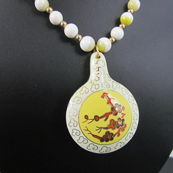 Porcelain Guilloche & Enamel Necklace w/ Glass & Gold Beads - Costume Jewelry