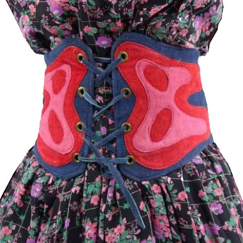 1960s Hippie Psychedelic Extra Wide Leather Women's Belt / Laced Corset  - Accessories