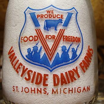 VALLEYSIDE DAIRY...ST. JOHNS, MICH............WAR SLOGAN QUART MILK BOTTLE - Bottles