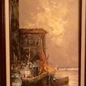 Nice oil painting of 'Boat in Dock' signed by 'Reynolds' - Fine Art