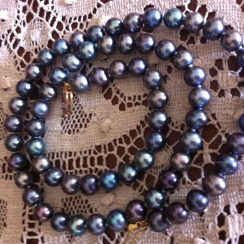 "18"" Strand of Blue/Gray Pearls  - Fine Jewelry"