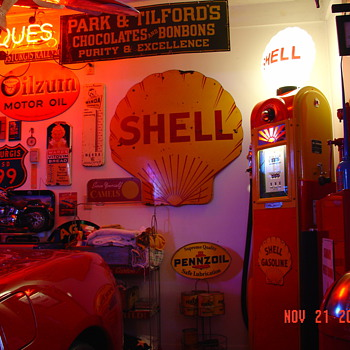 Shell Porcelain Sign...42 Inch...Double Sided...Two Colors...Dated 12-1929 - Petroliana