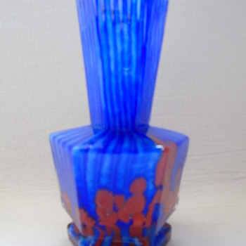 Welz Stripes and Spots Miniature Hexagonal Vase - Art Glass