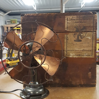 Westinghouse Brass Fan and Original Shipping Crate - Office