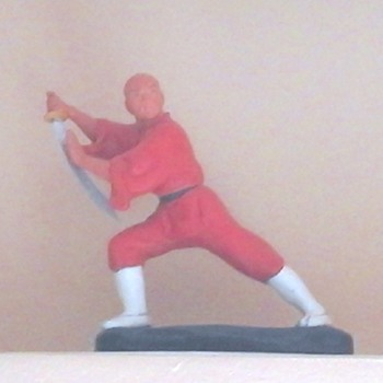 Vintage Clay Shaolin Monk figurine painted with acrylic paint... - Asian