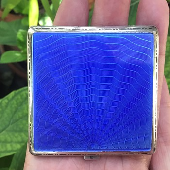 Blue Enamel Silver Compact - Accessories
