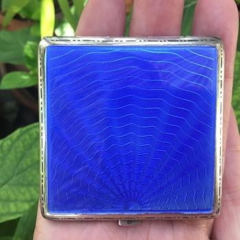 Blue Enamel Silver Compact - Accessories