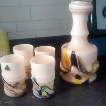 decanter set with strange sticker? - Art Glass
