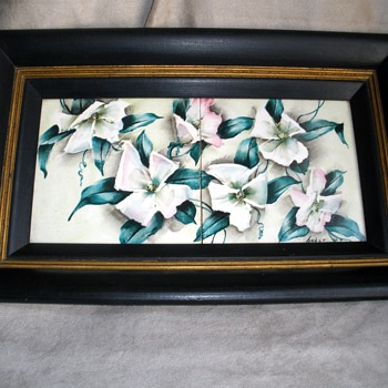 Hand painted framed ceramic tiles Original frame Signed Huber - Mid-Century Modern