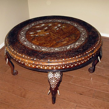 Indian ivory inlaid carved round table