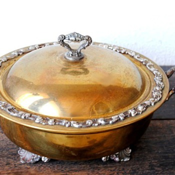 Ornate Metal Brass Covered Dish Marked, but don't know mark - Kitchen