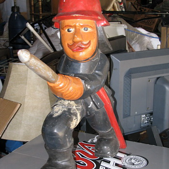 Wood Carved Fireman Statue