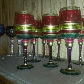 Vintage Multi Colored Stem Ware