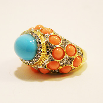 Vintage Kenneth Jay Lane Turquoise and Coral Cabochon with Rhinestone Ring - Costume Jewelry