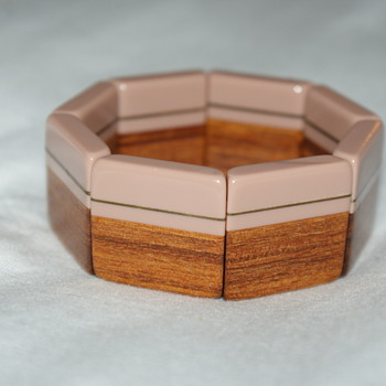 Plastic, Brass, and Wood Laminated Stretch Bracelet - Costume Jewelry