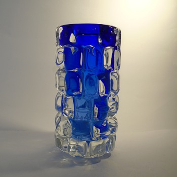Skrdlovice glassworks -- Frantisek Vizner 7117 'toffee' art glass vase in blue and clear -- Czech art glass - Art Glass
