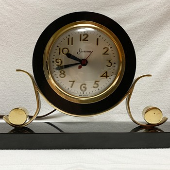 Sessions Mantle (Could be Desk) Clock, Marble Base and Clock Housing, Brass Accent - Clocks