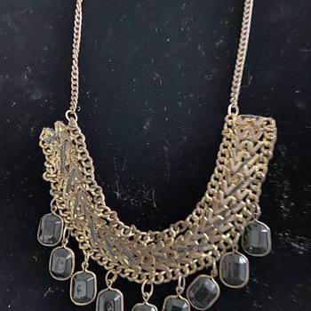 Mystery Fringe Glass Necklace  - Costume Jewelry