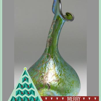Art Nouveau LOETZ Crete Papillon, Rosewater Sprinkler Vase with Silver Overlay, PN II-77 - Art Glass