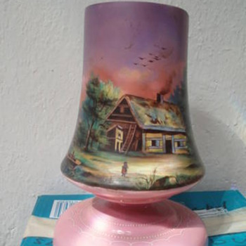 Hand painted glass vase - Art Glass