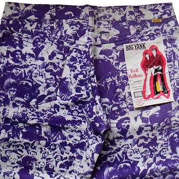 Deadstock Early 1970s BIG YANK Woodstock print Bell Bottoms