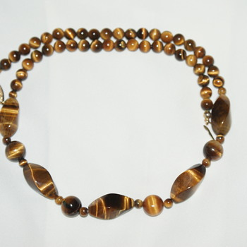 Vintage Tiger's Eye Choker Necklace - Costume Jewelry