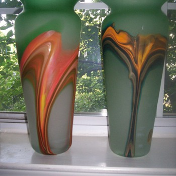 Murano Frosted Green Glass Vase w/ Swirl Color(s) design.  HOT!  Set of 2 - Art Glass
