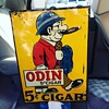 "Original 1930's Embossed ""ODIN"" 5 cent Cigar Tin Sign"