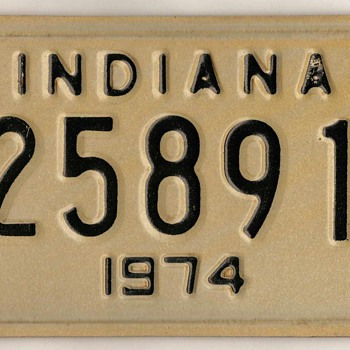 1974 - Motorcycle License Plate (Indiana) - Classic Cars